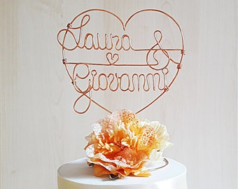 Heart wedding cake topper, wire cake topper, heart with names cake topper, rustic wedding, romantic wedding