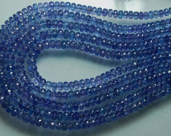 14 Inches Strand, AAA Quality, Blue Tanzanite Micro Faceted Rondelles, 3.5-4.5mm