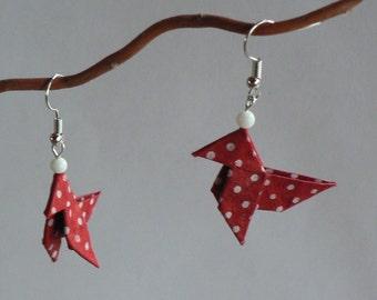 Boucles d'oreilles Origami Cocottes Rouges Bordeaux Petits Pois Blancs.