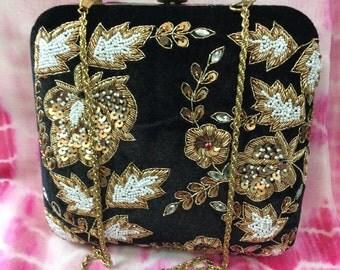 Designer Hand crafted Black Velvet Box clutch