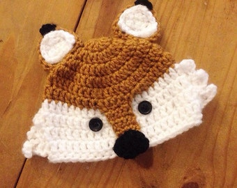 Baby Fox Beanie- Any size newborn-adult MADE TO ORDER