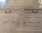 Antique French Louis Roses Swags Marble Top Server Shabby Chic Carvings