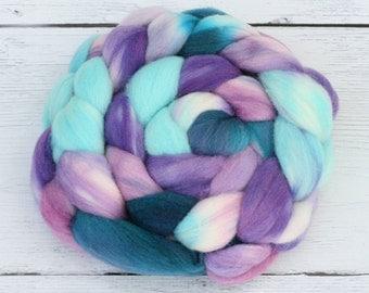 Polwarth - Tussah Silk  Spinning Fiber  - Blurple