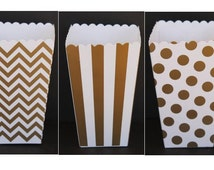 12 Gold  Popcorn Boxes- Treat Boxes - Party, Birthday and more