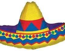 "34"" Inch Sombrero Shape Mylar Foil Balloon, Birthday Party,  Western Party Decor prop"