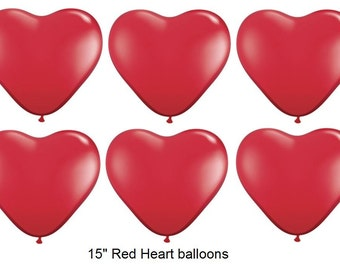 """15"""" Red Heart Balloons, Set of 10 Latex  Balloons, Wedding Party Decor prop """"Same Day Shipping"""""""