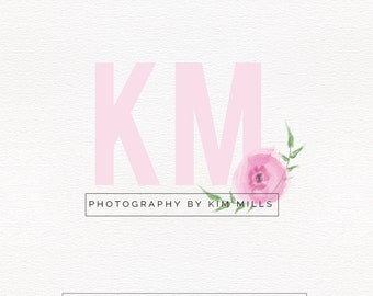 Pink and Fresh Logo Design , Watercolor Logo , Initials Logo , Perfect For Your Business!
