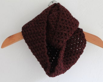 HANDMADE Crocheted Burgundy Colored Infinity Scarf. Dark Red Scarf. Purple/Red Scarf. Warm Scarf. Winter Scarf.