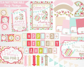 Tea Party Printable Party Package YOU Print Tea for Two Pink Blue Floral Decorations