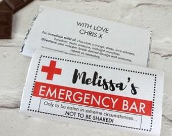 Emergency Chocolate Bar - personalised chocolate bar - personalised candy wrapper - best birthday gift