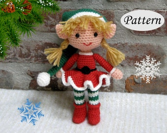 PATTERN - Christmas Xmas Elf Girl - Amigurumi - Crochet Doll - Photo Tutorial - PDF