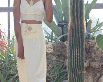 Vintage Cream Maxi Skirt with gold waist deatails