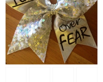 Faith Over Fear Cheer Bow , cheer bow ,cheerbow , cheerleader , Bella bows , white cheer bow