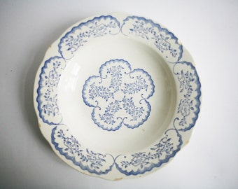 vintage french soup plate, early 20th century, blue and white, vintage french decor, french country decor