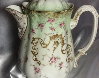Chocolate Pot, L C & S Limoges; chocolate pot, limoges france, l c and s, limoges chocolate pot, dogwood blossoms