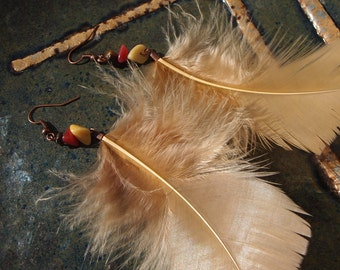 Beige feather earrings with red and pale yellow beads