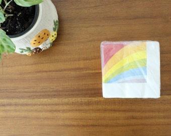 CLEARANCE // Vintage Rainbow Paper Beverage Napkins