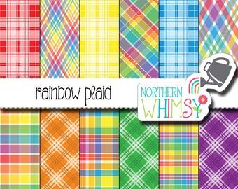 Plaid Digital Paper - rainbow digital paper - bright printable scrapbook paper - red, orange, yellow, green, blue & purple - commercial use
