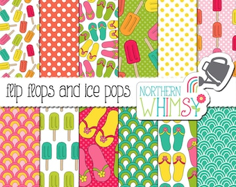 "Summer Digital Paper - ""Flip Flops and Ice Pops"" - pink, green, turquoise & coral scrapbook paper with sandals and ice cream -commercial use"