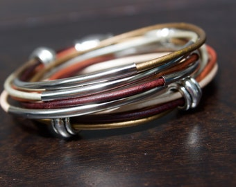Silver Tubes and Beads Bracelet, Earthy Leather Wrap Cuff for Women, 30th Birthday Girlfriend Gift, Wrap Around Bracelet, Summer Wedding