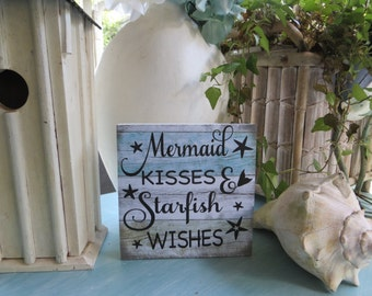 "Wood Mermaid Sign, ""Mermaid Kisses and Starfish Wishes"", Mermaid Wall Decor, Mermaid Sign, Beach Decor"