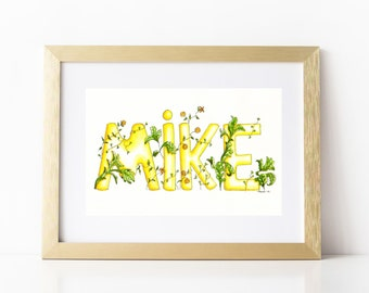 Custom Name Art  Artist Original Watercolour Painting  Completely Unique Personalised Watercolour Painting. Name Illustration