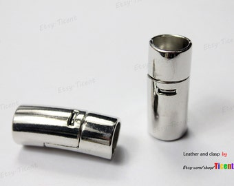 3 sets 10mm Round Hole Silver Magnetic Closure, Curved Cylinder Bracelet Clasp MT10M-503