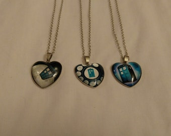 Free Shipping Tardis Heart Necklace, Doctor Who Necklace, Heart Necklace, Cachabon Necklace