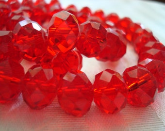 "10x8mm Big, Medium Siam Red Rondelles. No Coatings. 52pc. 15.5"" Strand. Siam Red Faceted 10mm Glass Beads  ~USPS Ship Rates from Oregon"