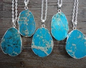 Turquoise Blue Emperor Jasper Silver Pendant Necklace/Silver Surround/Silver Chain/Bright Blue/Choose Your Pendant