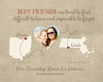 Personalized Gift for Best Friend, Distance Friendship Quote, Birthday Gift for Friend, Moving Away Gift, Personalized Gift, Any Two Places