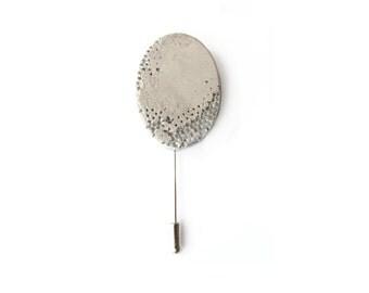 Geometric brooch pin, Oval brooch, Concrete brooch, Modern boutonniere, Concrete jewelry, Modern brooch, Beton, Lapel pin, Sweater pin
