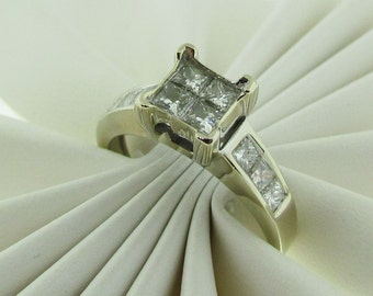 Vintage 14 K White Gold and Diamond Engagement Ring