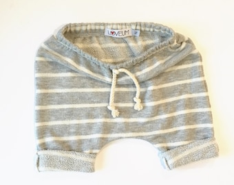 Baby Toddler Girl Boy Striped French Terry Harem Shorts Sz. 3m-4T