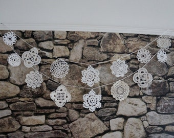 Wedding garland, vintage cotton crochet small doilies, bridal party bunting, baby shower, nursery decor, ceremony backdrop
