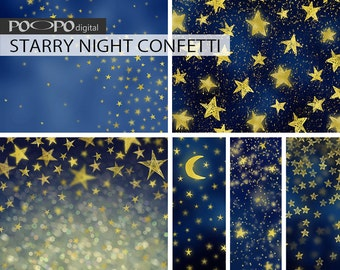 Gold starry night digital paper winter christmas glitter background stars space sky at midnight twinkle hand drawn stars confetti Celestial