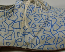 Size UK6 US8.5 EU39: Ladies Handmade Oxford Style shoe. Unique blue geometric print on soft suede Leather (slightly Scuffed)