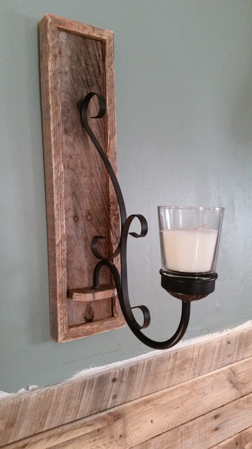repurposed barn wood candle wall sconce by AHIsalvage on Etsy