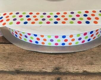 Polka dot printed ribbon ,Grosgrain ribbon