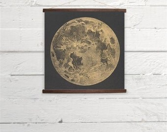 Vintage Moon Astronomy Canvas Poster Print Wooden Wall Chart