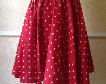 Vintage 50's circle skirt, red and white polka dot, elasticated waist,
