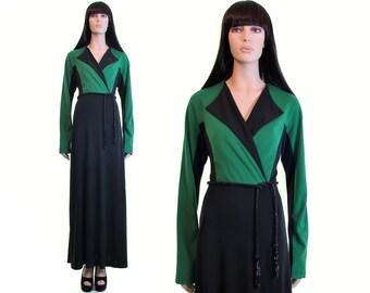 colorblock dress avant garde dress futuristic clothing minimalist dress vintage 90s dress green black maxi dress wrap dress deadstock RARE