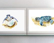 Sea turtle Art - Turtle Watercolor - set of 2 giclee Prints  - Nursery animal Painting - baby animal - baby turtle - cute animals