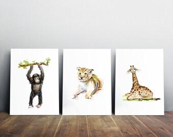 African Baby animal Art - Baby lion watercolor painting - baby chimpanzee art print - Nursery giraffe Art - nursery painting - zoo art