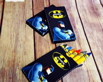 10 Batman personalized crayon party favors, coloring party. We make in any themes!