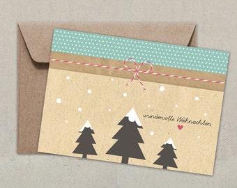 Postkarte + Umschlag | Wundervolle Weihnachten