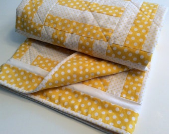 Handmade Yellow Baby or Lap Quilt Yellow Polka Dot Patchwork Blanket