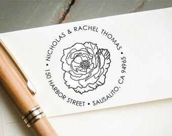 Custom Self-Inking Stamp, Peony Stamp, Self Inking Return Address Stamp, Personalized Stamp, Custom Stamp, Wedding Stamp, Bridal Shower
