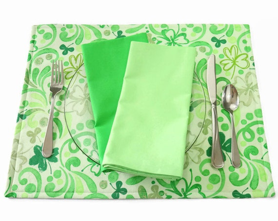 green floral placemats st patricks placemats green clover
