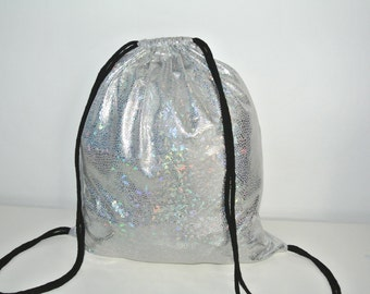 Gymnastic Bag Backpack Gym bag Silver Holographic Snakefoil Hologram
